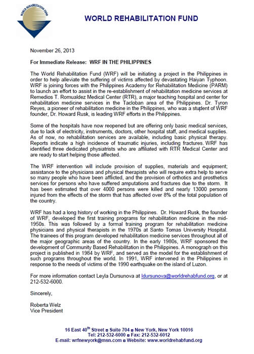 WRF Announcement Intervening in the Philippines